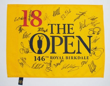 Open Championship 2017 Royal Birkdale pin flag signed by 22 top golfers.